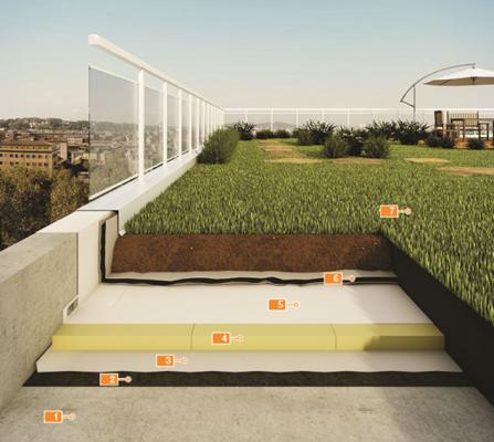 průřez zelenou střechou, ve kterém jsou vidět jednotlivé vrstvy